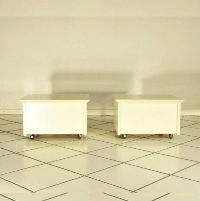 Space Age Claudio Salocchi 1975 Set of Two Nightstands Sand Glossy Lacquer 45° Cut Sormani For Sale