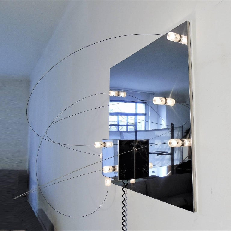 Italian Wall Lamp Bt1 Polished Steel Lucite a.R.D.i.T.i., by Sormani Nucleo, Italy, 1972 For Sale