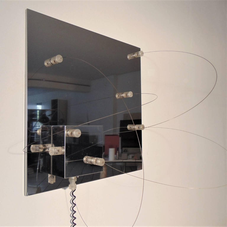 Late 20th Century Wall Lamp Bt1 Polished Steel Lucite a.R.D.i.T.i., by Sormani Nucleo, Italy, 1972 For Sale