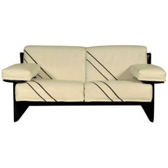 1981 Sormani White Leather Two-Seater Sofa with Black Inlays and Structure Italy