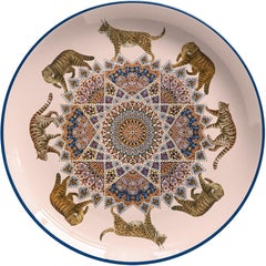 Tigers Porcelain Dinner Plate by Vito Nesta for Les-Ottomans
