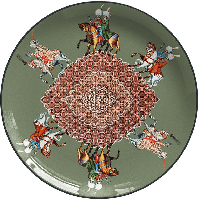 Knights Porcelain Dinner Plate by Vito Nesta for Les-Ottomans