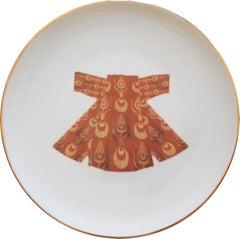 Ottoman Kaftan Porcelain Dinner Plate with Gold Rim Made in Italy Kaft3
