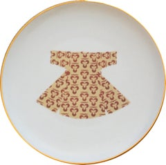 Ottoman Kaftan Porcelain Dinner Plate with Gold Rim Made in Italy Kaft4
