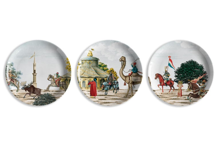 Other Corteo Porcelain Set of 12 Dinner Plates Made in Italy For Sale