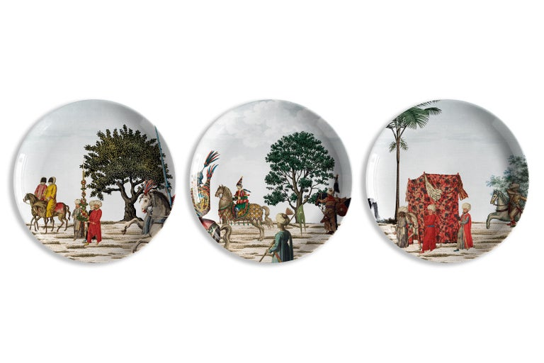 Italian Corteo Porcelain Set of 12 Dinner Plates Made in Italy For Sale