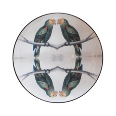 Sultan's Journey Green Parrots Porcelain Plate by Patch NYC for Les-Ottomans
