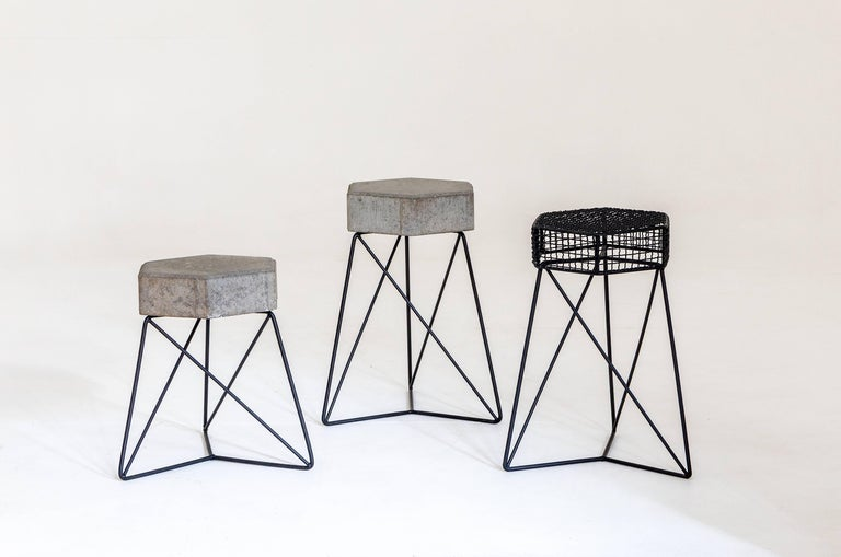 Other Mini Urbe Stool Made of Concrete and Steel Brazilian Contemporary Design For Sale