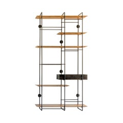 """Dots 5 box"" Minimalist Floating Shelf Unit in Stainless Steel and Hardwood"