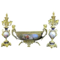 Bleu-de-Roi Three-Piece Gold Gilt Garniture Hand-Painted Center Bowl Candelabra