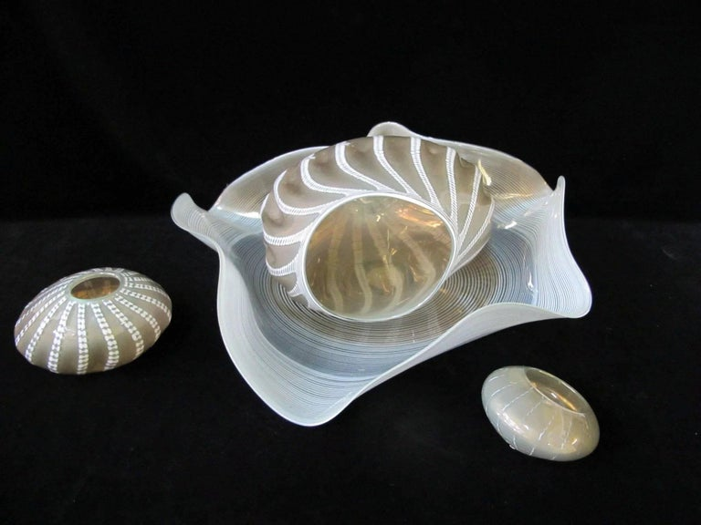 An authentic Dale Chihuly four-piece glass set Seaform sculpture in celadon and gray. It's signed at the base, no chips, cracks or repairs, and minimal surface scratching, mostly at the base. Largest piece measures 27
