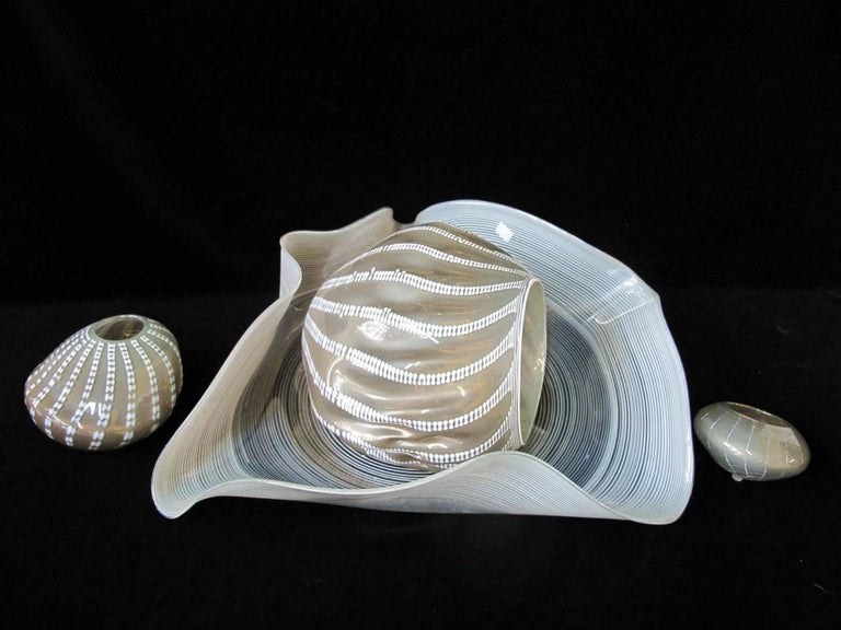 American Chihuly Signed Seaform Four-Piece Sculpture, Celadon and Gray For Sale
