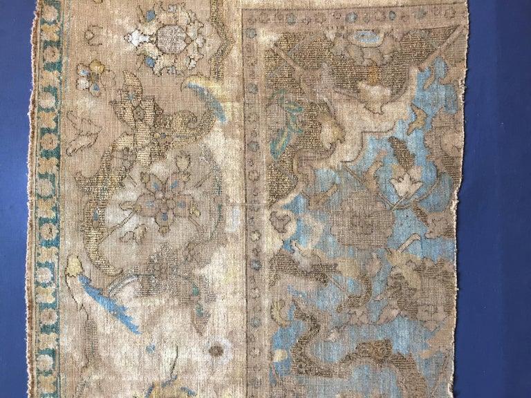 17th Century Blue Gold Wool Silk Gilded Silver Fragment
