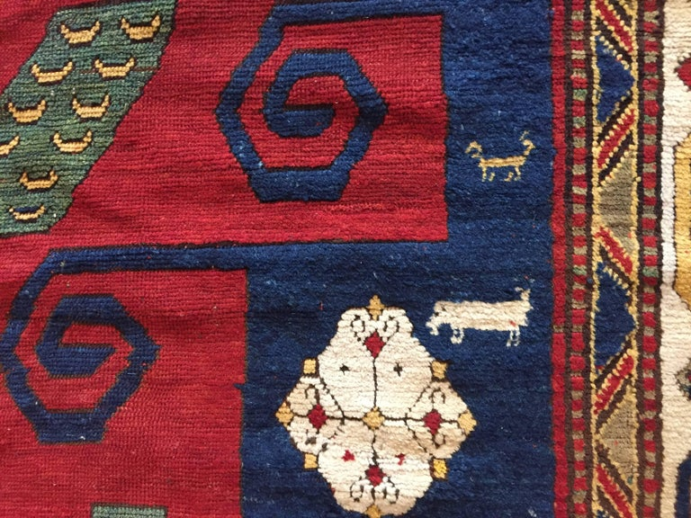19th Century Kazak Pinwheel Crab Caucasian Rug Hand-Knotted Red Blue Green White For Sale 3
