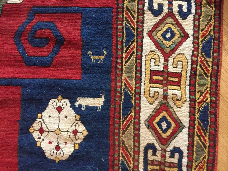 19th Century Kazak Pinwheel Crab Caucasian Rug Hand-Knotted Red Blue Green White For Sale 4
