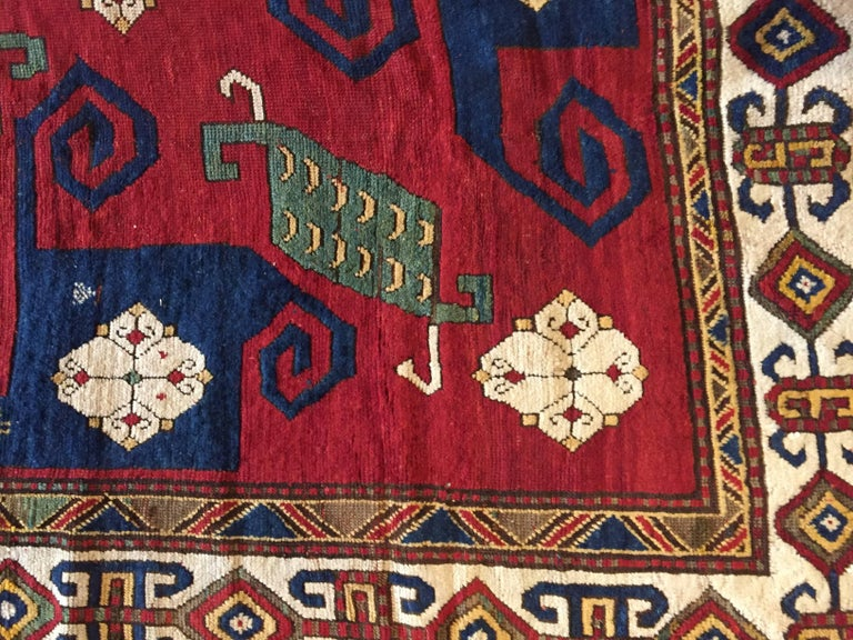 19th Century Kazak Pinwheel Crab Caucasian Rug Hand-Knotted Red Blue Green White For Sale 5