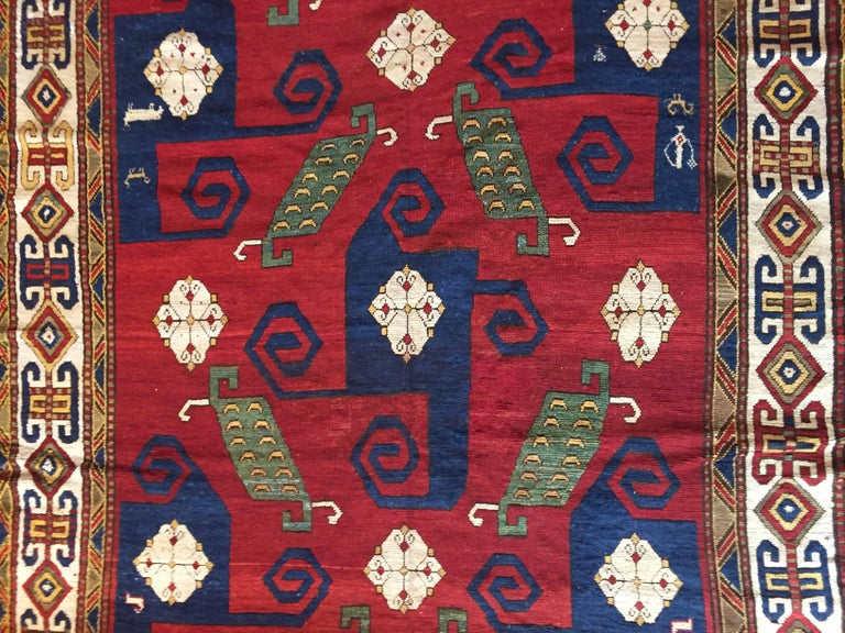 19th Century Kazak Pinwheel Crab Caucasian Rug Hand-Knotted Red Blue Green White For Sale 9