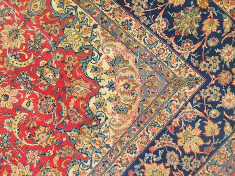 Islamic Classic Persian Design Isfahan Hand Knotted Carpet Central Medallion Red Blu For Sale