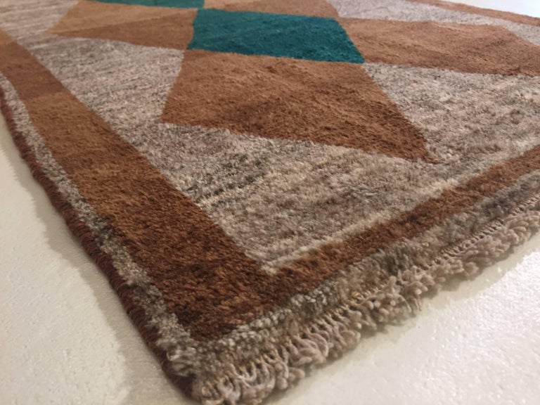 Late 20th Century 1970s Gabbeh Rug Hand-Knotted in Wool Brown and Green For Sale