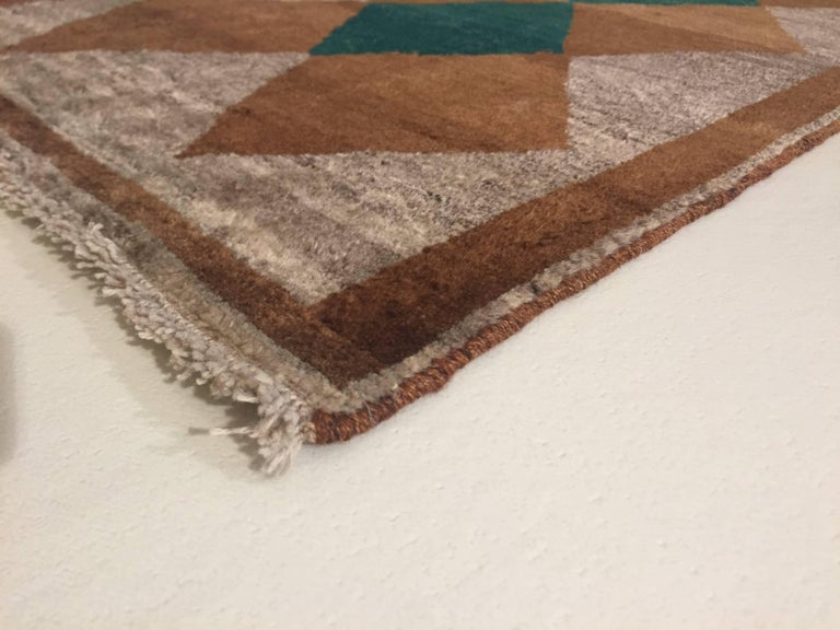1970s Gabbeh Rug Hand-Knotted in Wool Brown and Green For Sale 1
