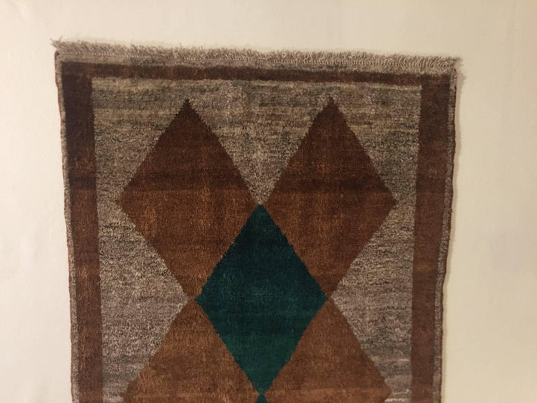 Mid-Century Modern 1970s Gabbeh Rug Hand-Knotted in Wool Brown and Green For Sale