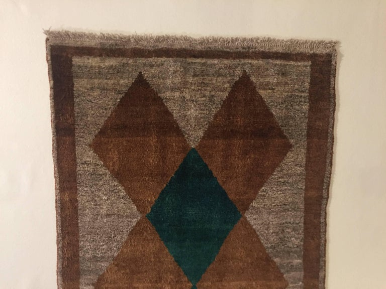 Persian 1970s Gabbeh Rug Hand-Knotted in Wool Brown and Green For Sale