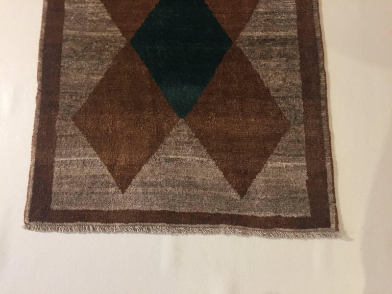 1970s Gabbeh Rug Hand-Knotted in Wool Brown and Green For Sale 2