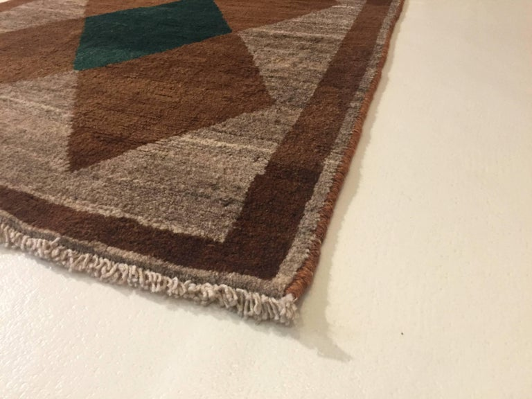 1970s Gabbeh Rug Hand-Knotted in Wool Brown and Green For Sale 3