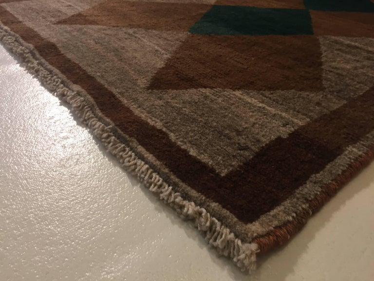 1970s Gabbeh Rug Hand-Knotted in Wool Brown and Green For Sale 4