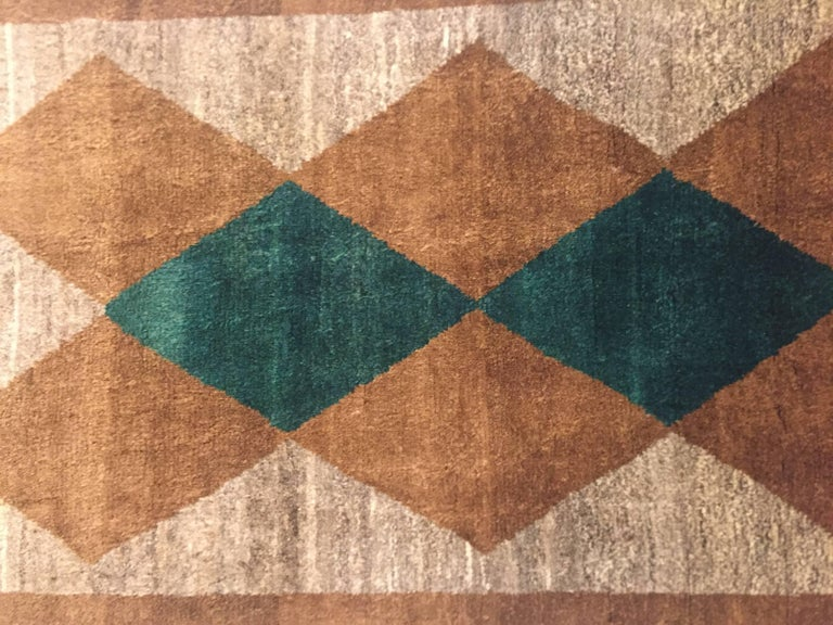 1970s Gabbeh Rug Hand-Knotted in Wool Brown and Green For Sale 5