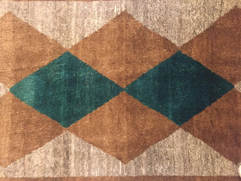 1970s Gabbeh Rug Hand-Knotted in Wool Brown and Green For Sale 6