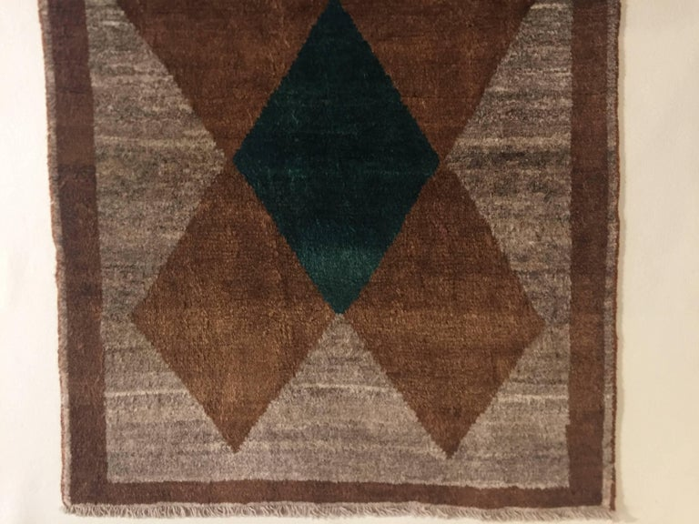 1970s Gabbeh Rug Hand-Knotted in Wool Brown and Green For Sale 7