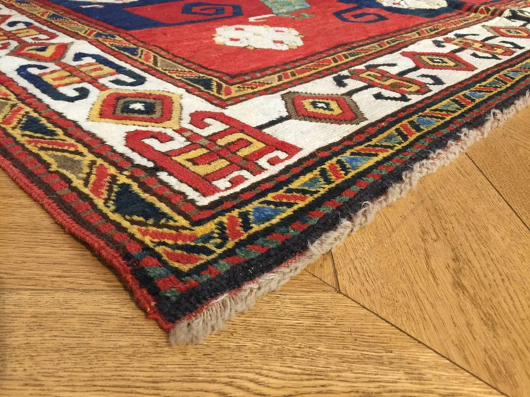 19th Century Kazak Pinwheel Crab Caucasian Rug Hand-Knotted Red Blue Green White For Sale 6