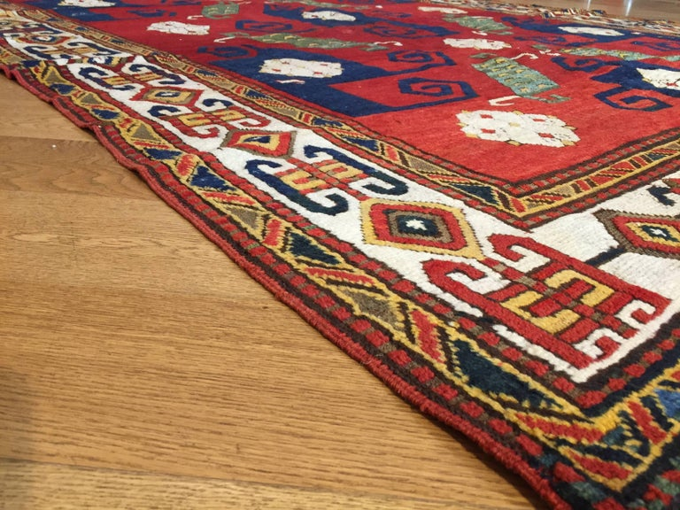 19th Century Kazak Pinwheel Crab Caucasian Rug Hand-Knotted Red Blue Green White For Sale 7