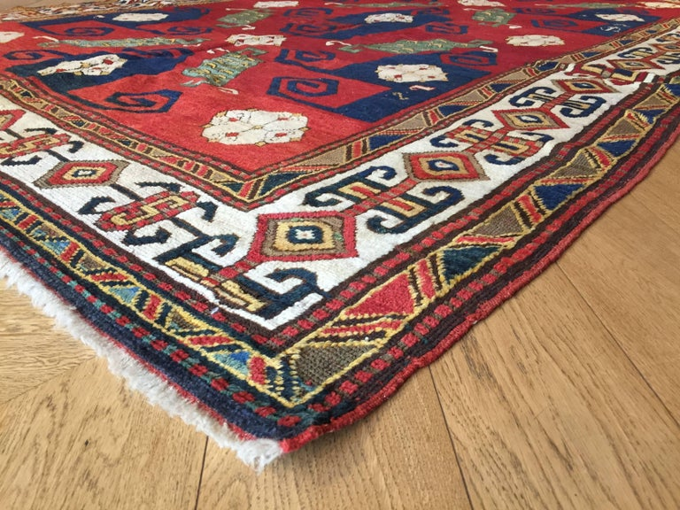 19th Century Kazak Pinwheel Crab Caucasian Rug Hand-Knotted Red Blue Green White For Sale 8