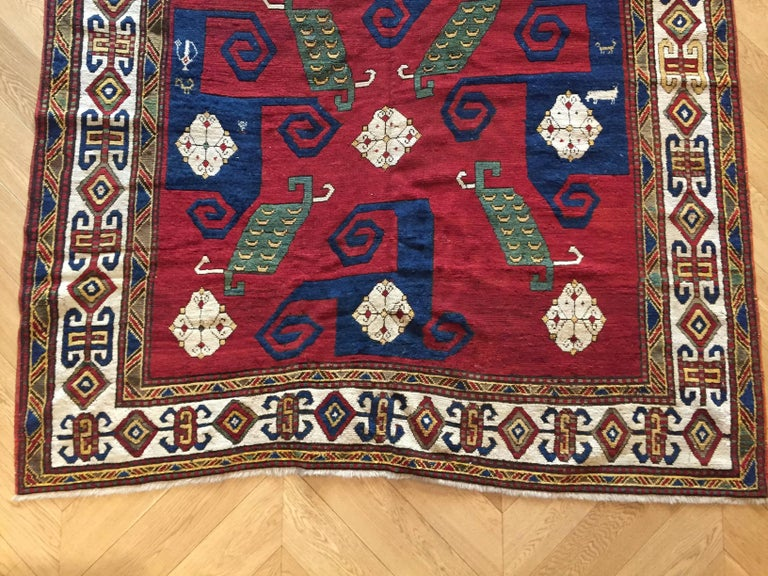 19th Century Kazak Pinwheel Crab Caucasian Rug Hand-Knotted Red Blue Green White For Sale 10