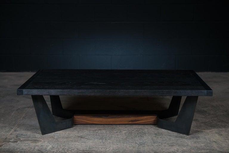 Modern Franklin Coffee Table by Ambrozia, Charred Oak, Blackened Steel & Walnut Base For Sale