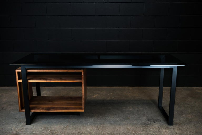 Blackened Hamilton Modern Desk, by Ambrozia, Tinted Glass, Black Steel, Solid Black Walnut For Sale