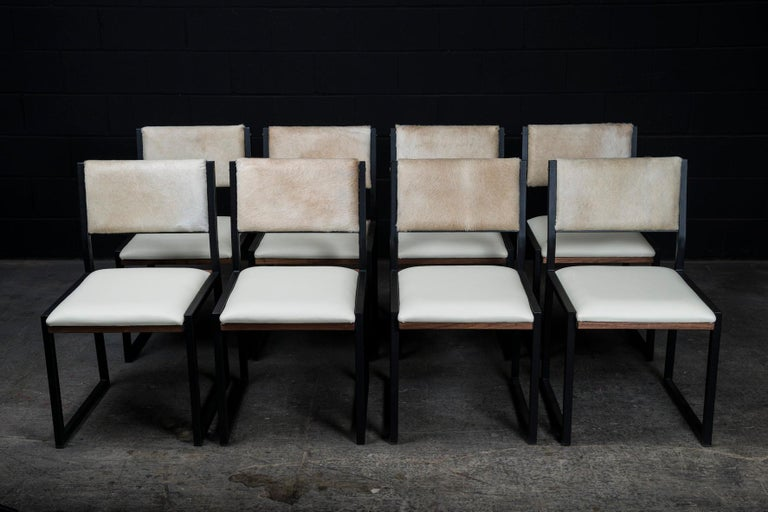 Modern Richmond Table and 8 Shaker Chairs in Walnut, Leather & Cow Hide For Sale