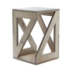 "Modern ""Pitagora"" Handmade Stool in Birch Multi-Layered Wood"