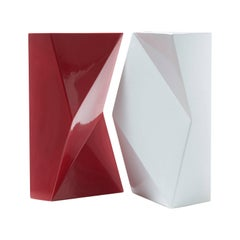 "Modern ""Verso"" Pair of Handmade Ceramic Vases in Red and White"
