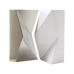 "Modern ""Verso"" Pair of Handmade Ceramic Vases in Platinum and White"