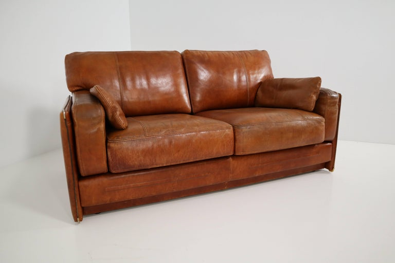 Art Deco 1978 Italian Vintage Baxter Bull Leather Sofa In Distressed Used Look For