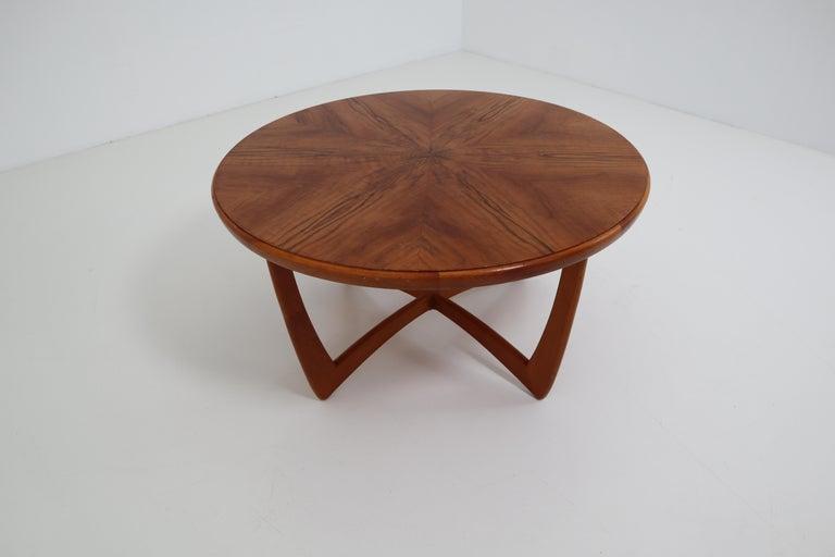 Striking Matched Walnut Veneer Panels Arranged To Create A Sunburst Effect On This Handsome Midcentury Round