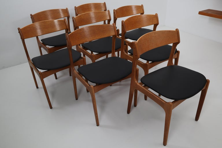 Set of eight dining room chairs designed by Erik Buck Denmark and produced by O D