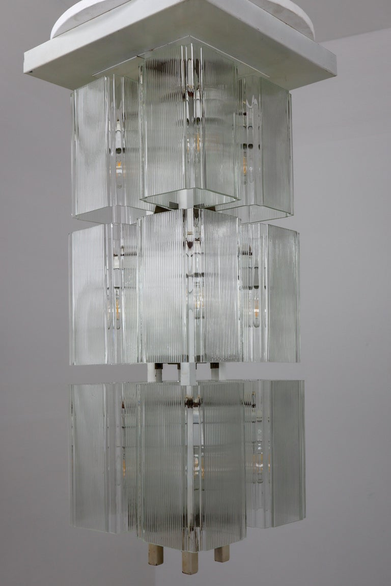 Mid-Century Modern Midcentury Flush Mounts in White Metal and Art Glass, Europe, 1970s For Sale