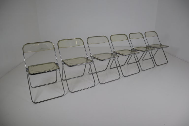 Italian Set of 48 Green Lucite Plia Chairs by Giancarlo Piretti for Castelli, 1970s For Sale