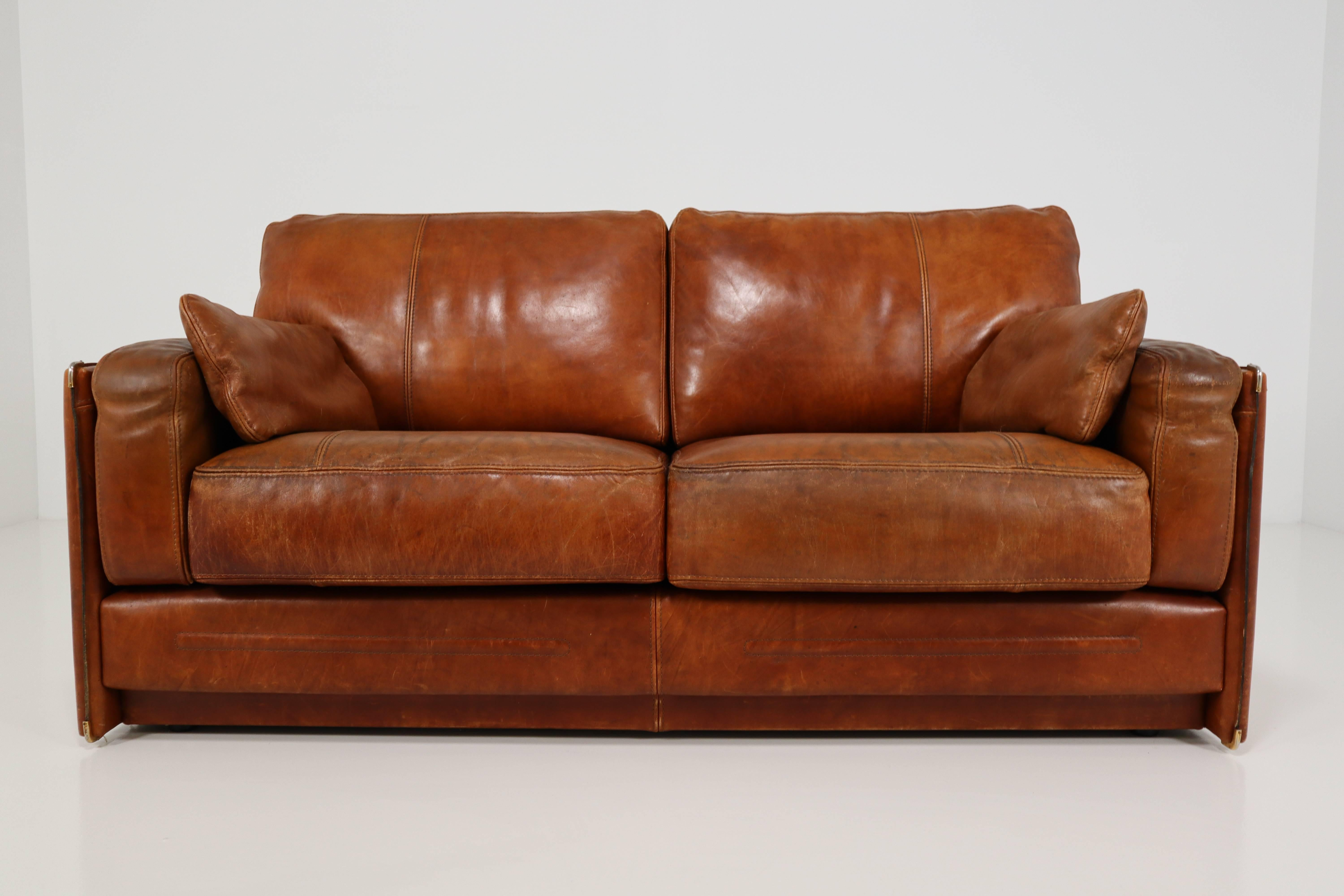 An Italian Baxter Bull Leather Sofa From High Quality. The Sofa Contains An Solid  Wood