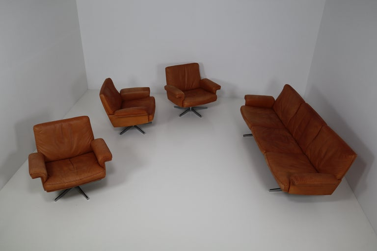 Mid-Century Modern De Sede  Armchairs and Sofa and in Soft Cognac Aniline Leather, Model DS 35 For Sale