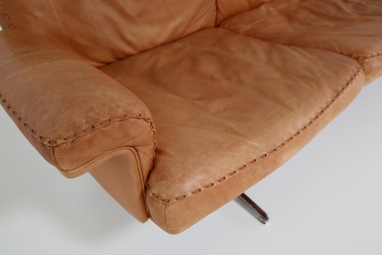 Mid-20th Century De Sede  Armchairs and Sofa and in Soft Cognac Aniline Leather, Model DS 35 For Sale